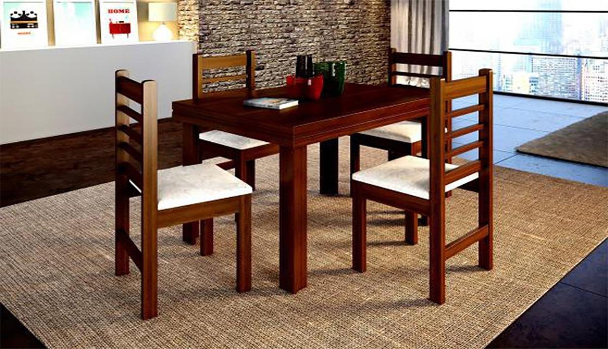 Juego de comedor mesa 4 sillas en madera sillas for Sillas para mesa de comedor