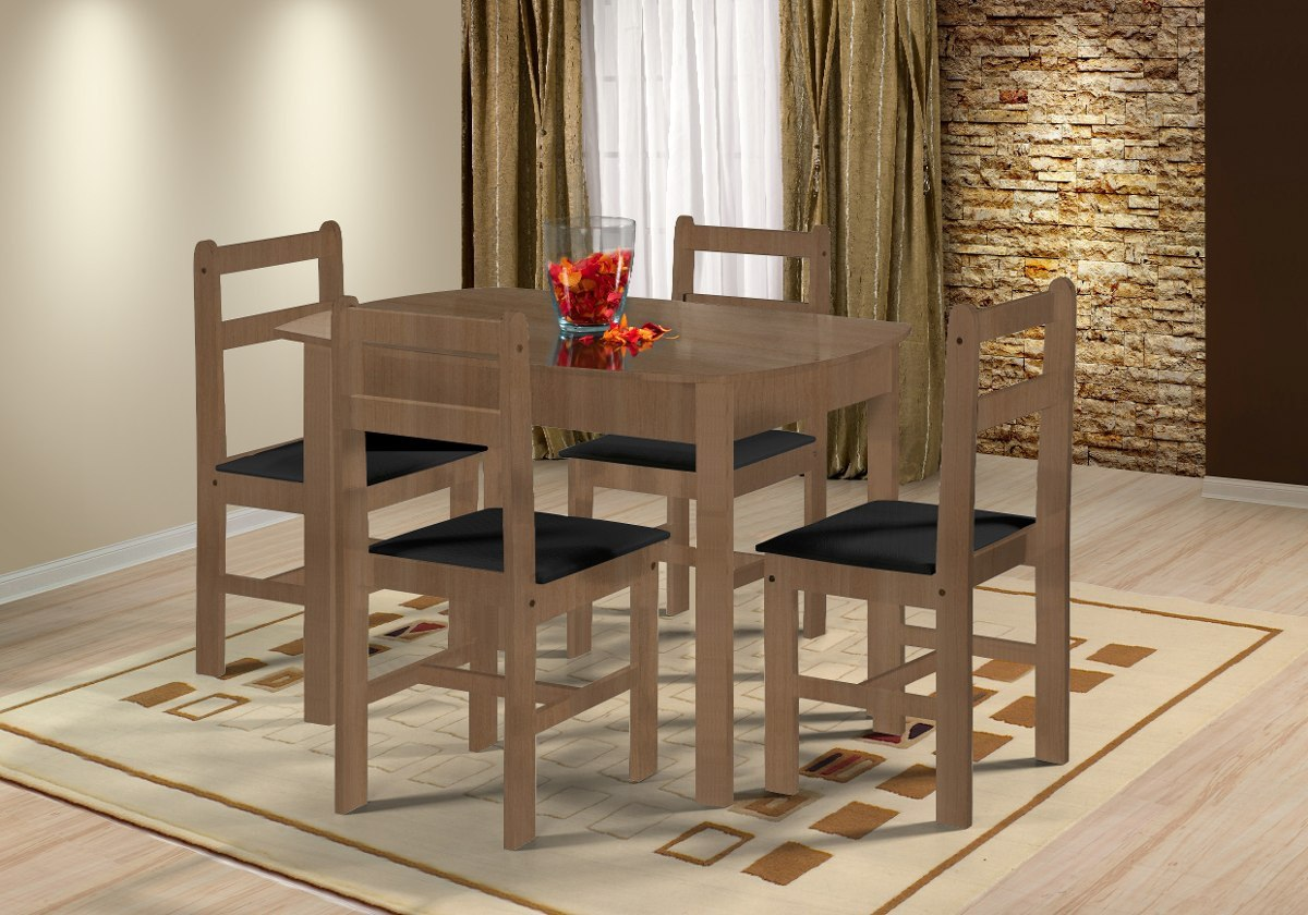 Juego de comedor mesa 4 sillas en madera sillas for Sillas de comedor tapizadas