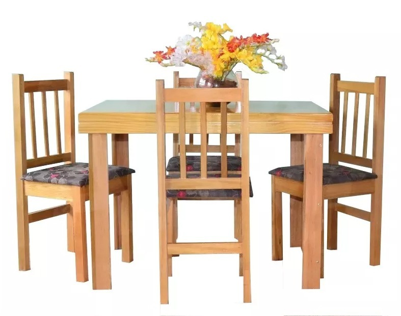 Juego de comedor mesa 4 sillas madera tapizadas for Sillas de comedor tapizadas