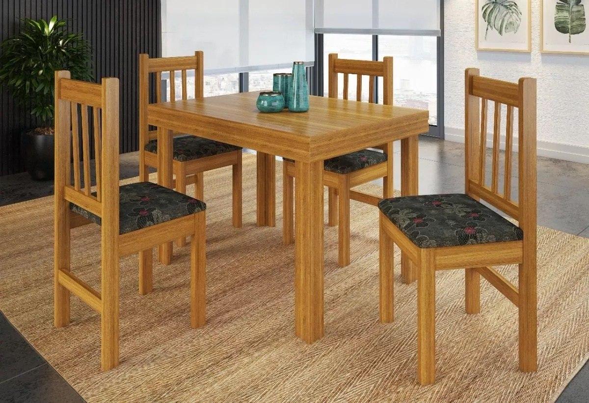 Juego de comedor mesa 4 sillas madera tapizadas cerejeira en mercado libre for Comedor 4 sillas madera