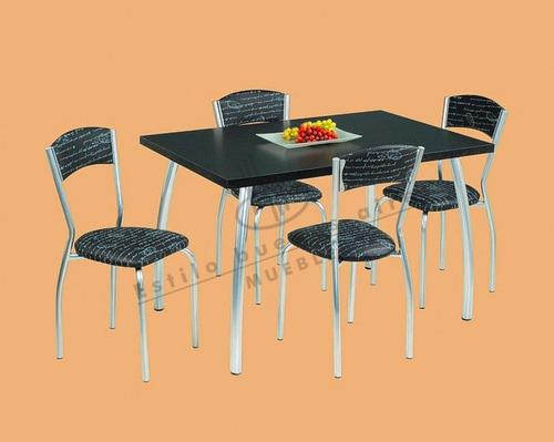 juego de comedor mesa de 1.20x0.80+4sillas de caño tapizadas