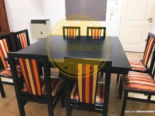 juego de comedor mesa de 1,40x1,40+ 8 sillas madera chenille