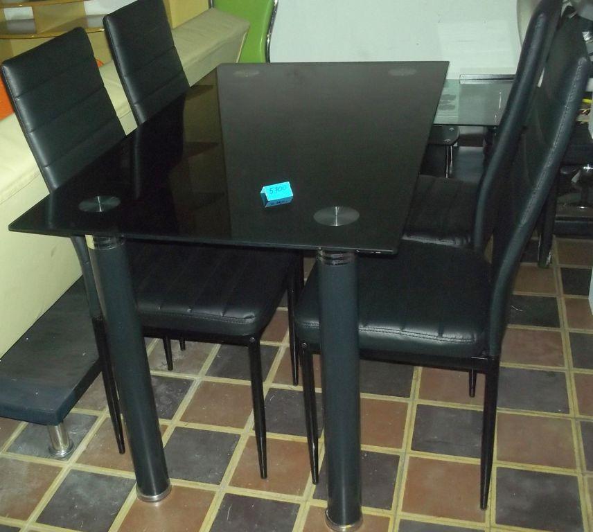 Juego de comedor mesa de vidrio 4 sillas tapizadas living for Mesa de comedor 4 sillas