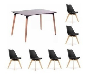 juego de comedor mesa eames madera 120 x 80 + 6 sillas tulip