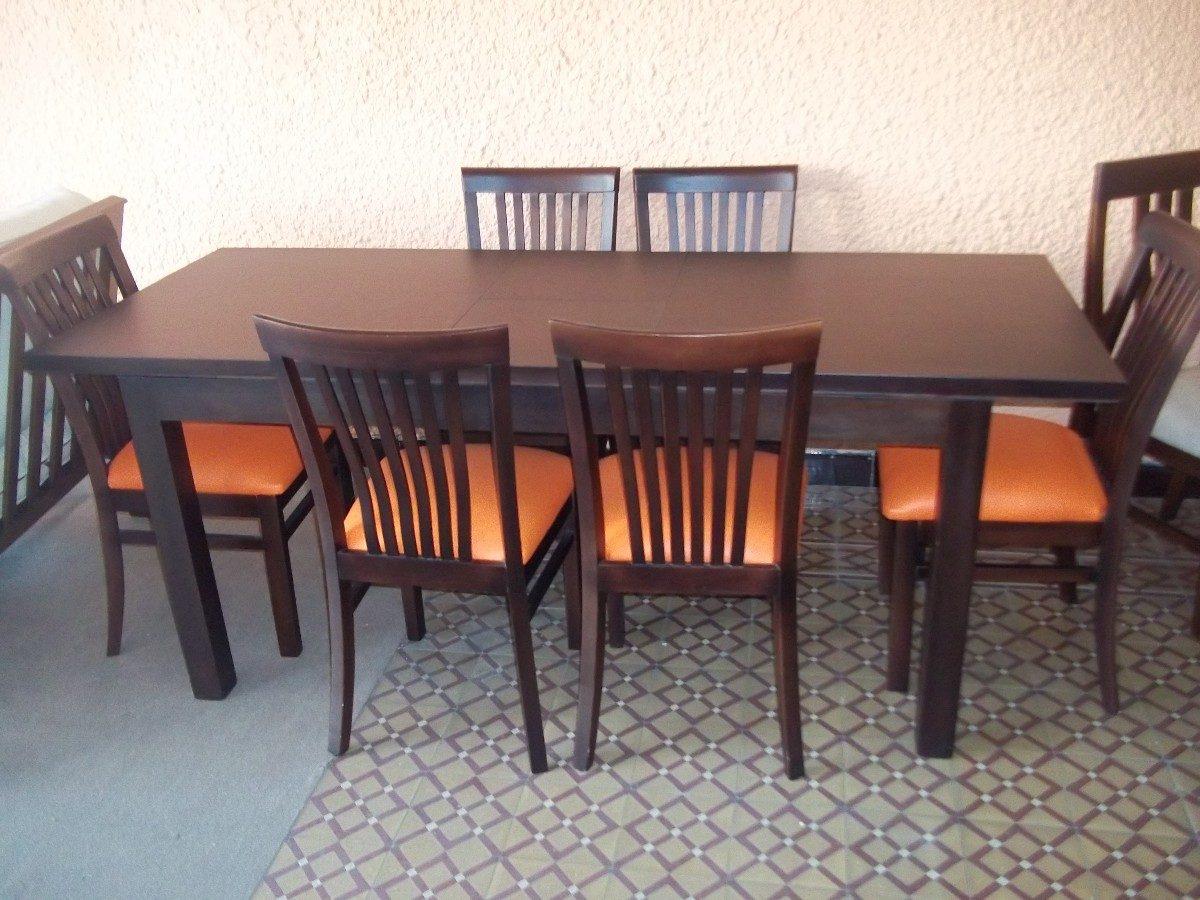 Juego de comedor mesa extensible 6 sillas madera for Mesa comedor madera maciza