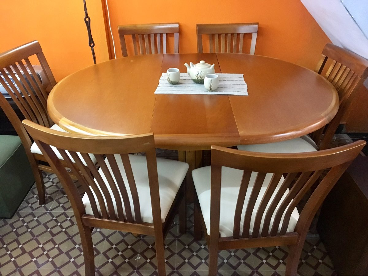 Juego de comedor mesa extensible 6 sillas madera for Mesa comedor redonda extensible madera
