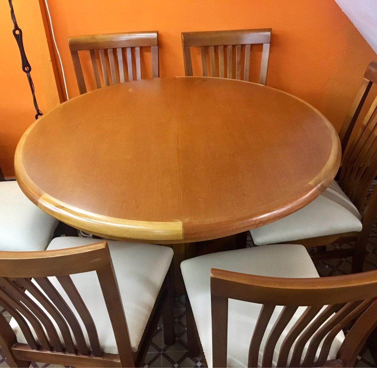 juego de comedor mesa extensible 6 sillas madera