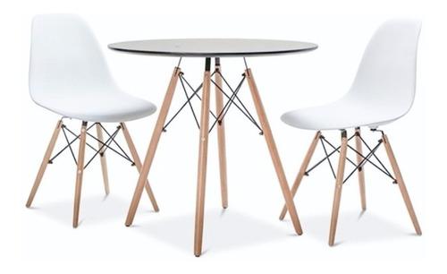juego de comedor mesa madera redonda 80cm + 2 sillas eames
