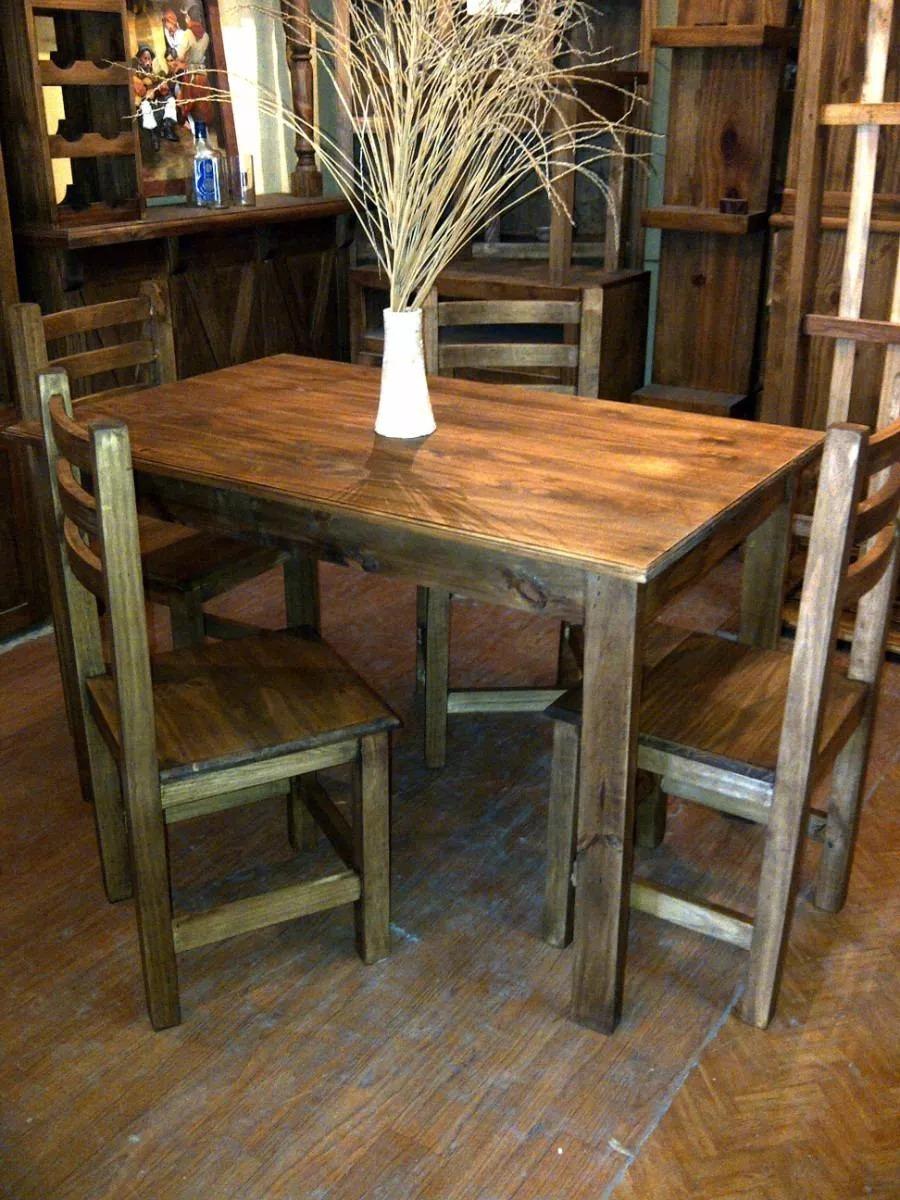 Juego de comedor mesa mas 6 sillas rusticas sin color for Mesa mas sillas comedor