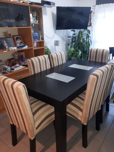 juego de comedor, mesa mas 6 sillas vestidas