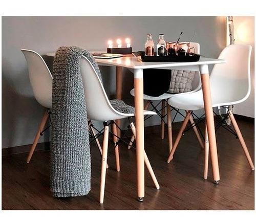 juego de comedor mesa rectangular 120cm + 4 sillas eames