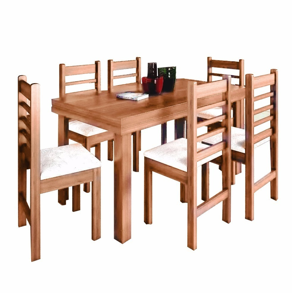 Juego de comedor mesa rectangular 6 sillas madera for Mesa y sillas tapizadas