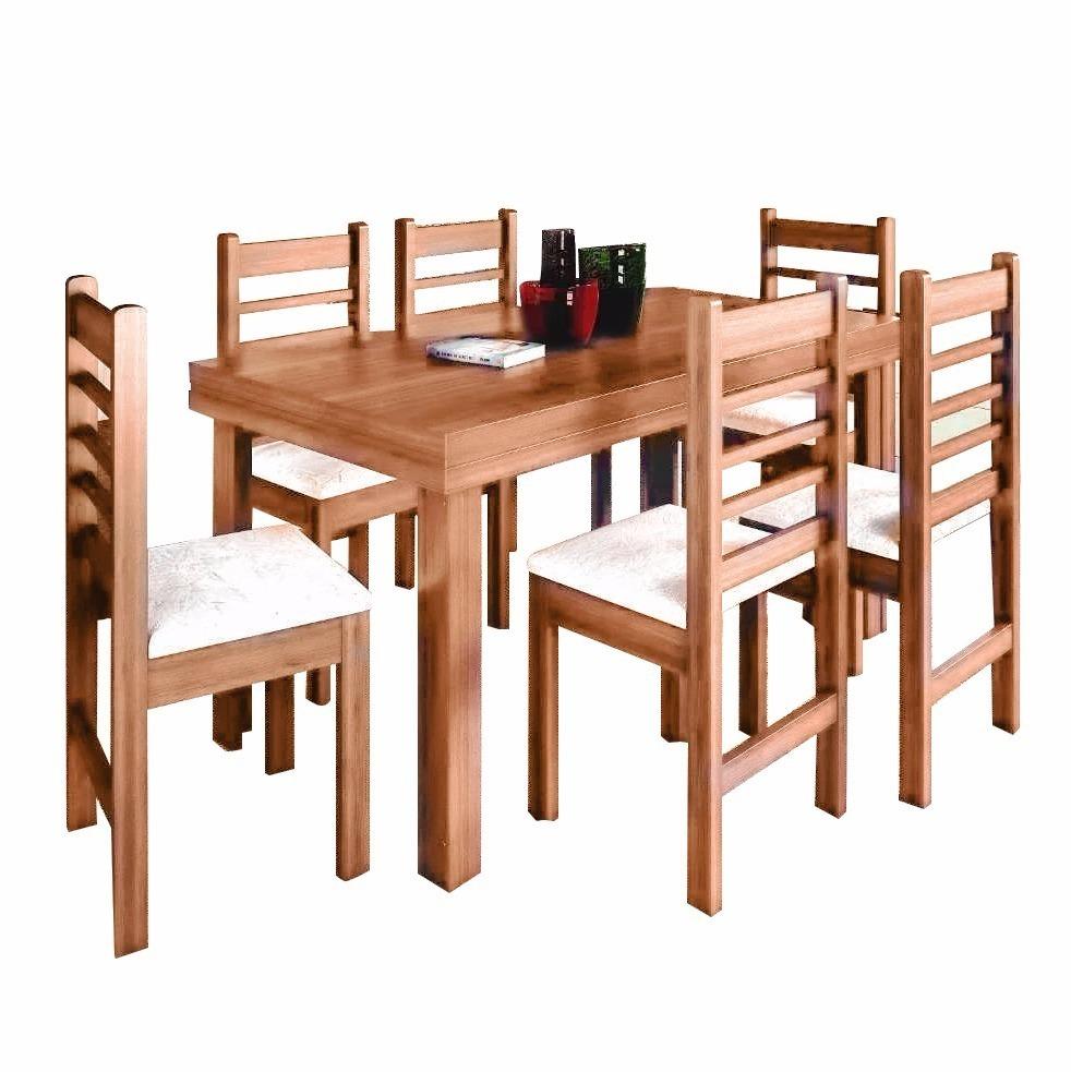 Juego de comedor mesa rectangular 6 sillas madera for Mesas y sillas de madera