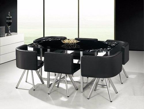 juego de comedor mesa rectangular + 6 sillas- metal y vidrio