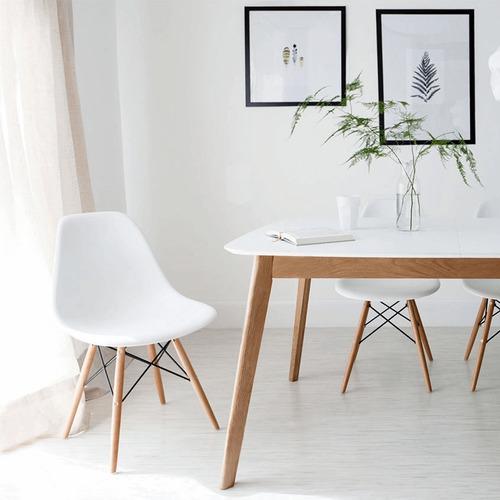 juego de comedor mesa rectangular claire madera 140cm + 6 sillas eames