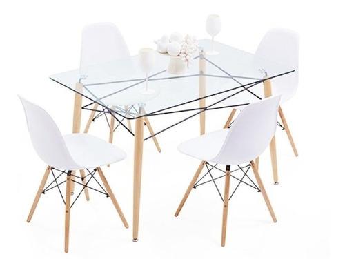 juego de comedor mesa rectangular eames ewa vidrio 120 x 80 + 4 sillas eames