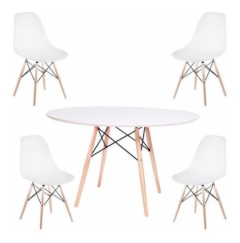 juego de comedor mesa redonda 110 + 6 sillas eames