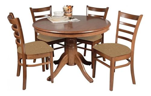 juego de comedor - mesa redonda + 4 sillas tapizadas - lcm