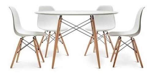 juego de comedor mesa redonda eames 100cm + 4 sillas eames