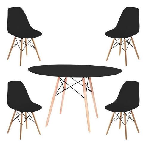 juego de comedor mesa redonda eames madera 110cm + 4 sillas eames - cuotas