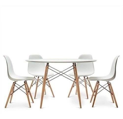 juego de comedor mesa redonda madera eames 100 + 4 sillas eames dsw