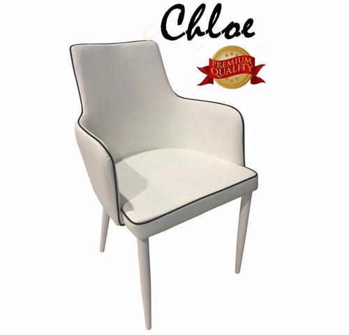 juego de comedor mesa silla butaca blanca cuero vidrio mader