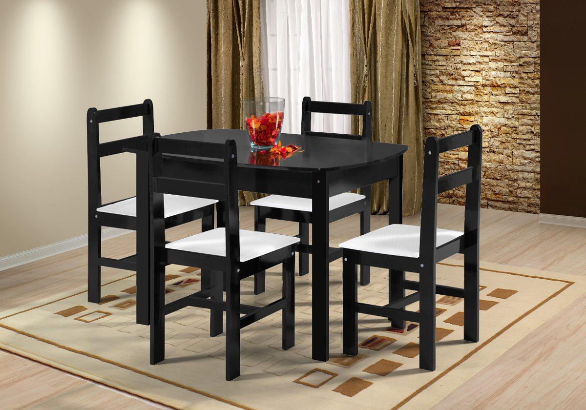 Juego de comedor mesa y 4 sillas en madera silla for Comedor 4 sillas madera