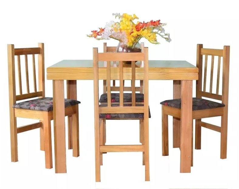 Juego de comedor mesa y 4 sillas en madera silla tapizada for Sillas de comedor de madera tapizadas