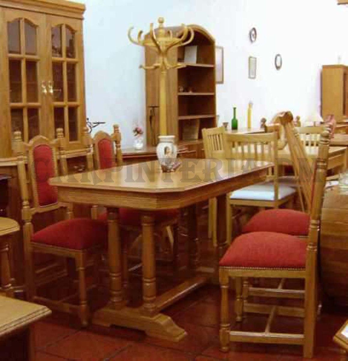 juego de comedor mesa y sillas en roble carpinteria dm