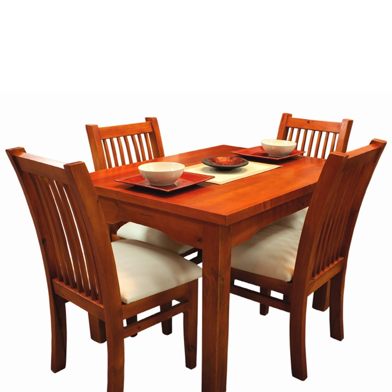 Juego de comedor mesa y sillas tapizadas madera 100 gh for Muebles rey sillas