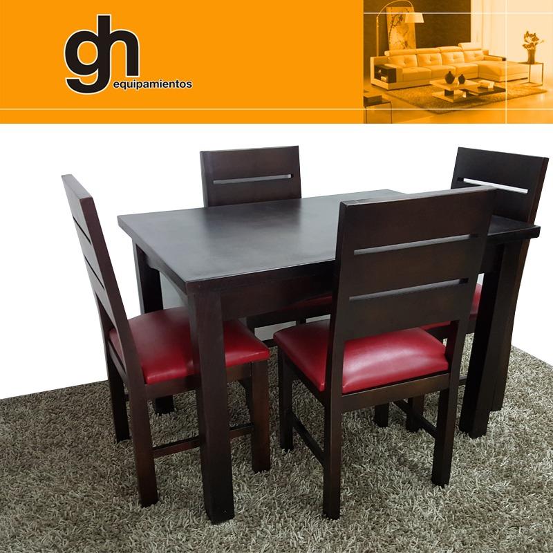 Juego de comedor mesa y sillas tapizadas madera 100 gh for Juego de living comedor moderno