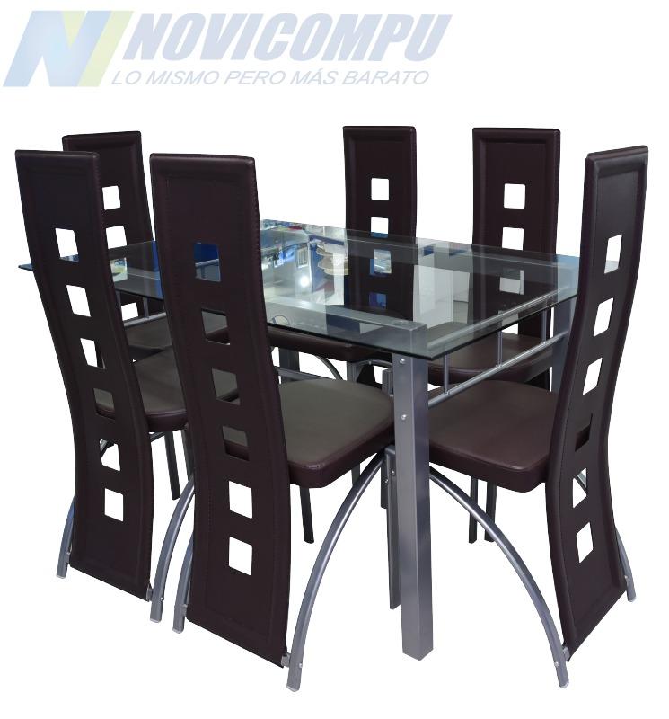 juego de comedor moderno sillas vidrio temperado mm