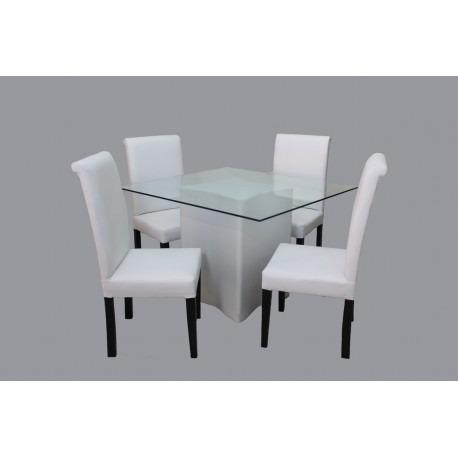 Juego de comedor moderno blanco 4 sillas 14 en for Juego de comedor 4 sillas moderno