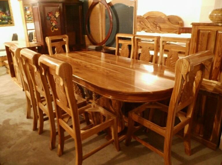 Juego de comedor moderno en madera de 8 puestos cisne bs for Juego comedor pequea o
