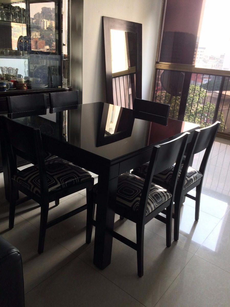 Juego de comedor negro con vidrio de x bs 280 for Juego de comedor de vidrio