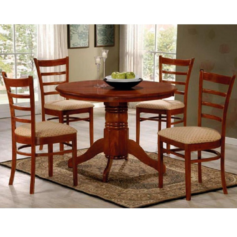 juego de comedor redondo 4 sillas tapizadas madera