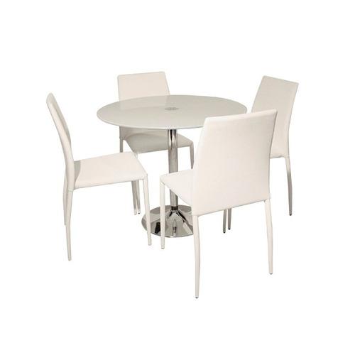 Juego de comedor redondo vidrio 1 metro diametro 4 sillas for Comedor redondo de vidrio 4 sillas