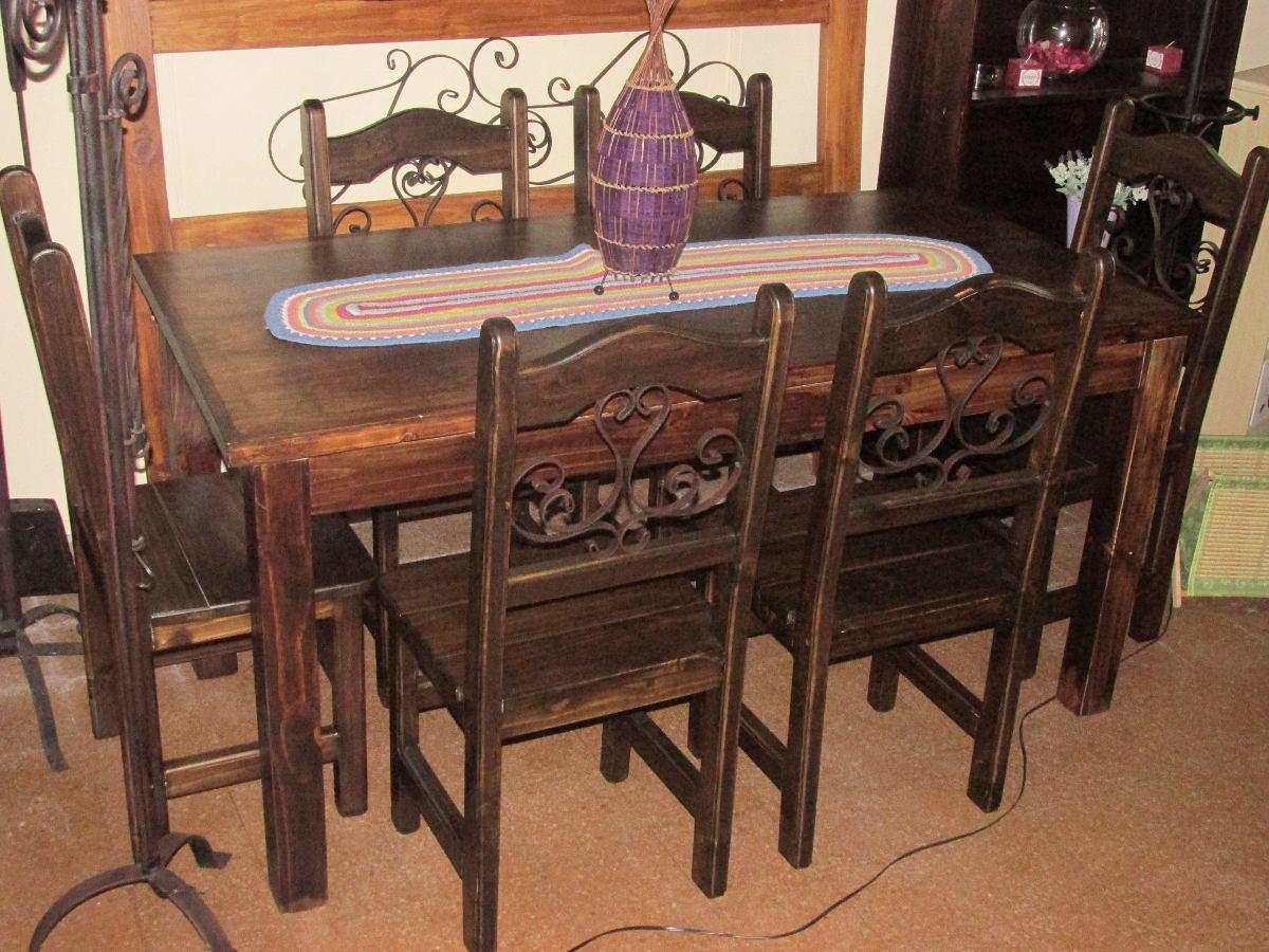 Juego de comedor r stico madera maciza en for Sillas madera maciza para comedor