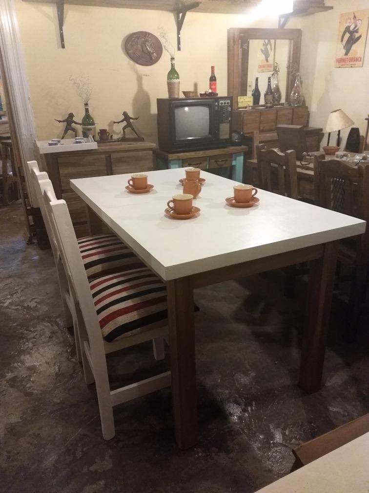 Juego De Comedor Rustico Moderno Vintage Blanco Combinado - $ 11.900 ...