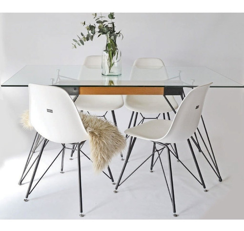 juego de comedor shidi mesa vidrio 160cm + 4 sillas shidi