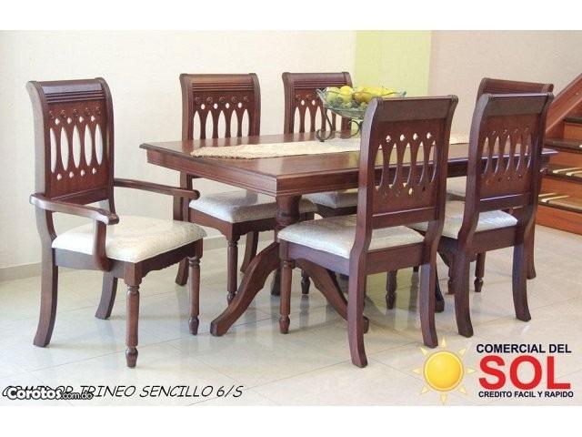 juego de comedor trineo sencillo de 6 sillas en caoba