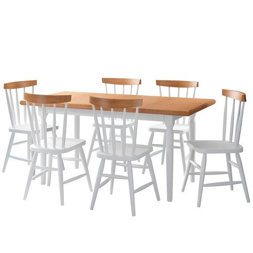 juego de comedor udine 6 sillas blanco con rustico madera