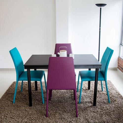 juego de comedor venecia 4 puestos con sillas-azul-morado