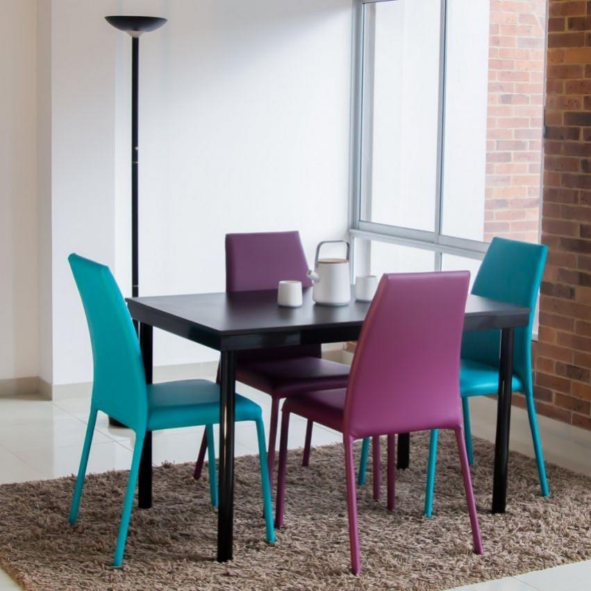 Juego de comedor venecia 4 puestos con sillas azul morado - Telas para tapizar sillas comedor ...