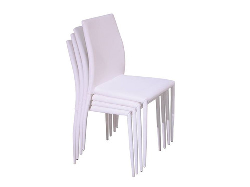juego de comedor vidrio y madera con 6 sillas blancas cuero