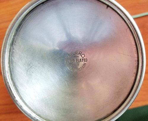 juego de copas con baño de plata silver plate marca valero e