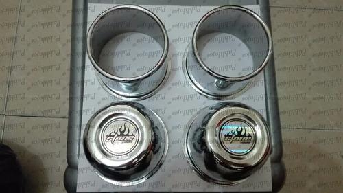 juego de copas tapa eje abiertas o cerradas cromadas x 4 uni