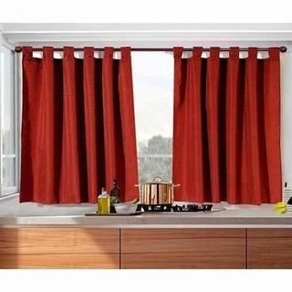 juego de cortina corta 2 paños motita varios colores