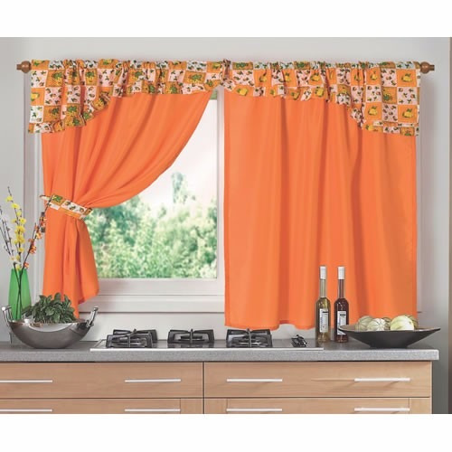 juego de cortinas 2 paños cocina huala naranja bando estampa