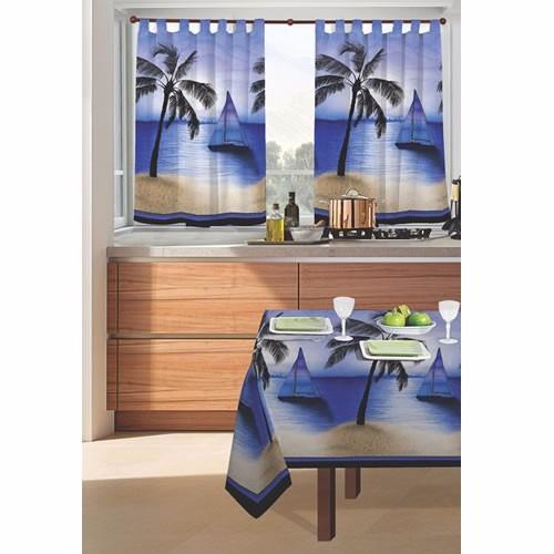 juego de cortinas 2 paños linea velero azul cocina ambiente